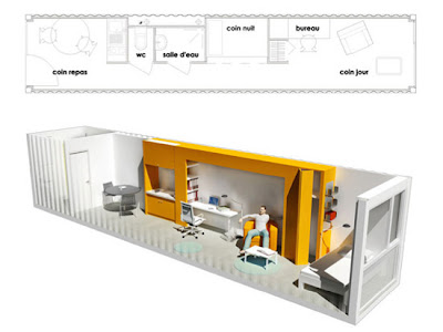 Inside the recycled shipping container