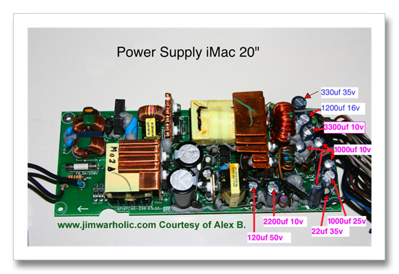 Capacitor List And Diameter Sizes For Power Supply Apple