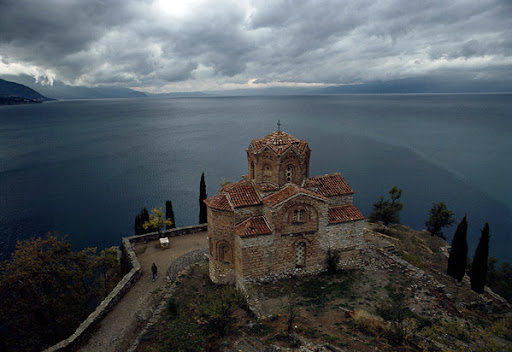 The church of St. John the Theologian–Kaneo above Ohrid Lake in Macedonia