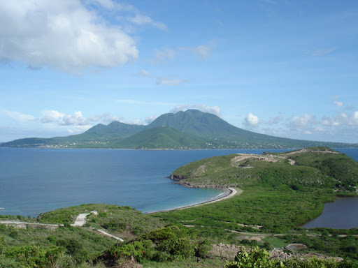 A view of Nevis from the island of St. Kitts