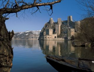The great fortress of Golubac over the Danube river in Serbia