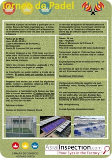 Torneo Pádel  Cámara de Comercio Hispano-Sueca Mayo 2010