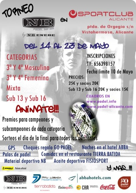 TORNEO NB PADEL SPORT CLUB ALICANTE MAYO DE 2010