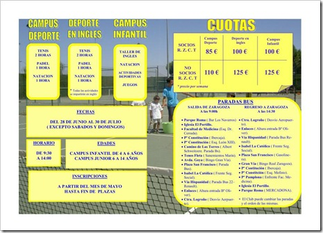 Campus Verano 2010 Real Zaragoza Club Tenis 2