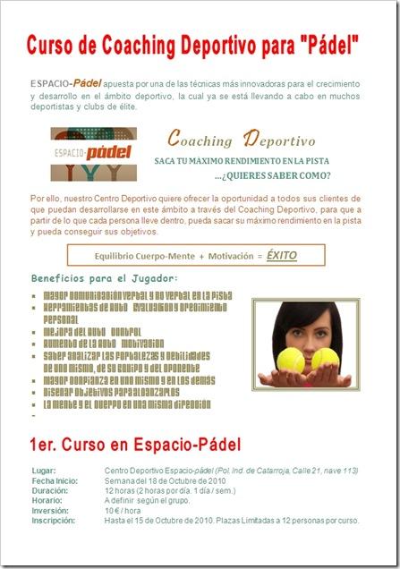 Curso Coaching Deportivo para Pádel Espacio Padel 2010