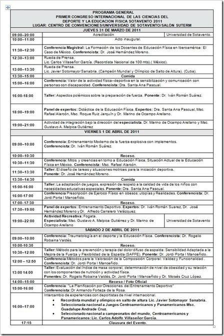 Programa congreso actividad fisica y deporte en sotavento 2011