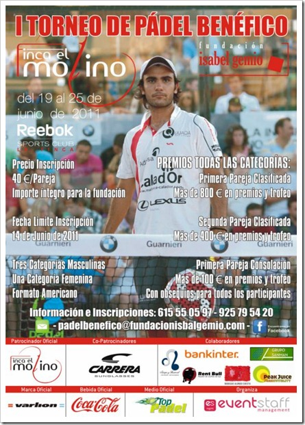 Torneo de Pádel Benéfico Fundación Isabel Gemio en Reebok Sports Club La Finca, 2011.