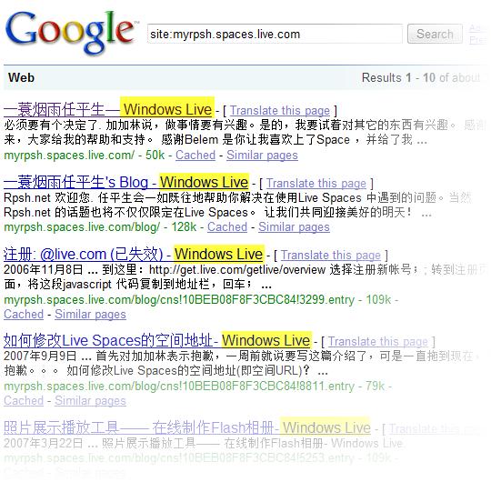 Google 搜索结果