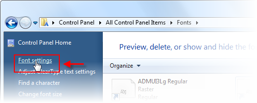 打开 Windows7 的 fonts settings - 任平生@Rpsh.net