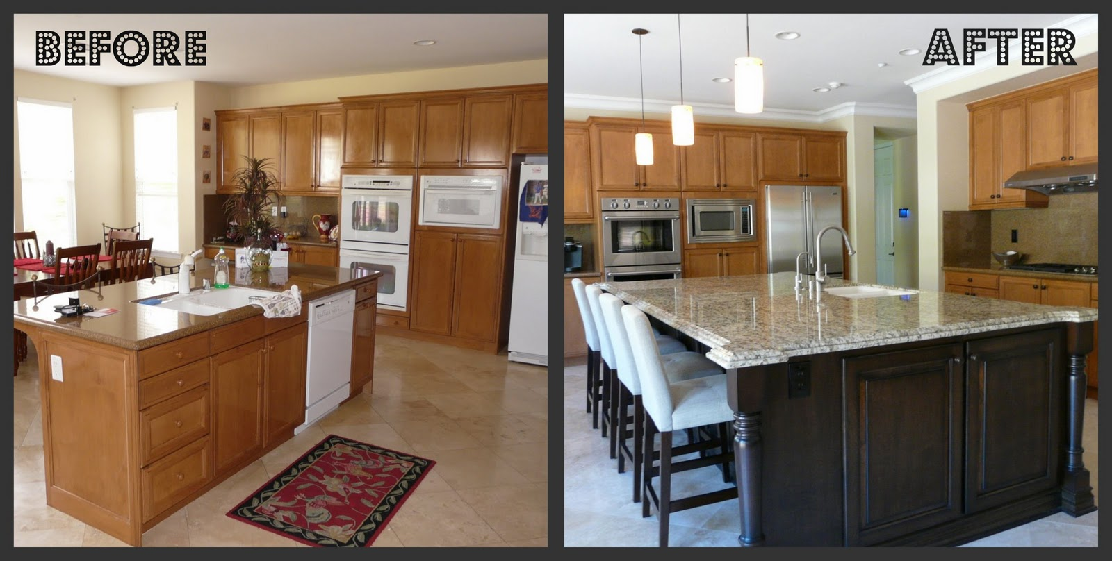 The kitchen before after for Kitchen cabinets before and after