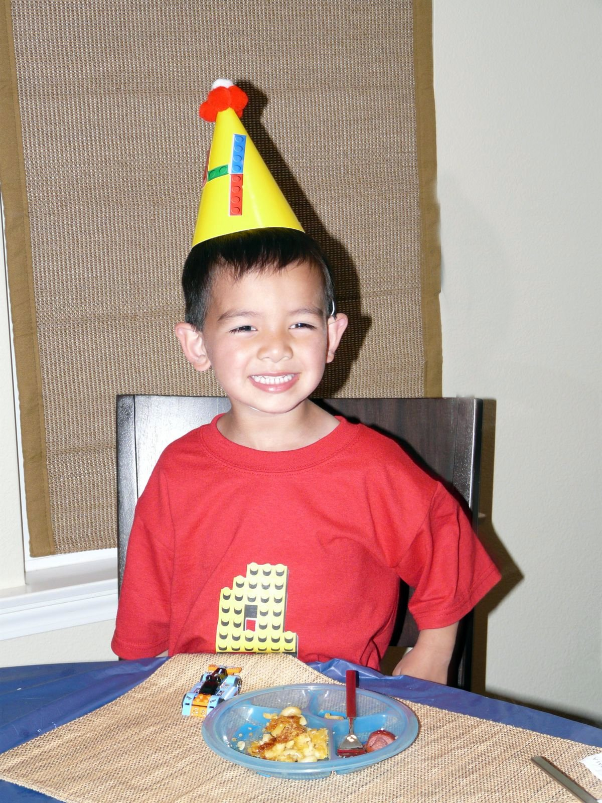 The Birthday Boy With His Custom Shirt And Lego Party Hat