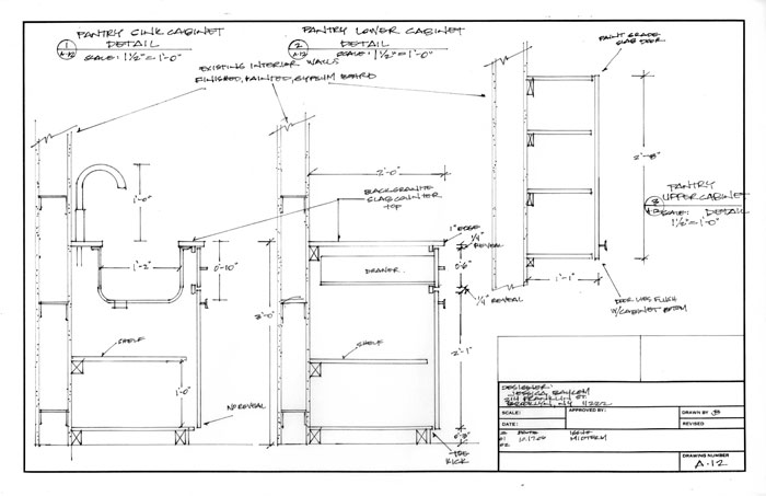 Cabinet Construction Details : Jessica mb portfolio hand drawn construction documents