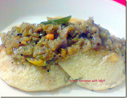 brinjal kichidi with idly