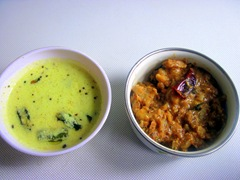 mor kulambu & raw banana kootu from Jayshree
