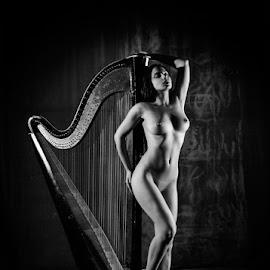 Первая строка by Kalin Kostov - Nudes & Boudoir Artistic Nude ( harp, body, nude, brest, woman, boudoir, legs, portrait, black )