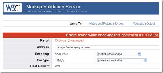 google invalid html