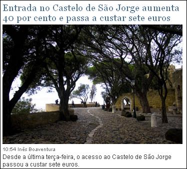 Entrada no Castelo de São Jorge aumenta 40 por cento e passa a custar sete euros