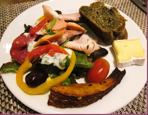 ... salad with yogurt dill dressing, Jean-Georges green tea coconut bread