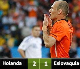 Holanda 2, Eslovaquia  1