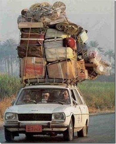 Auto cargado para el viaje