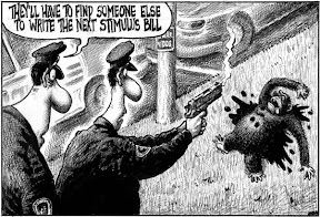 Racist and speciesist New York Post cartoon depicts two cops with guns drawn and a dead chimpanzee with gun shot wounds. One cop is saying: