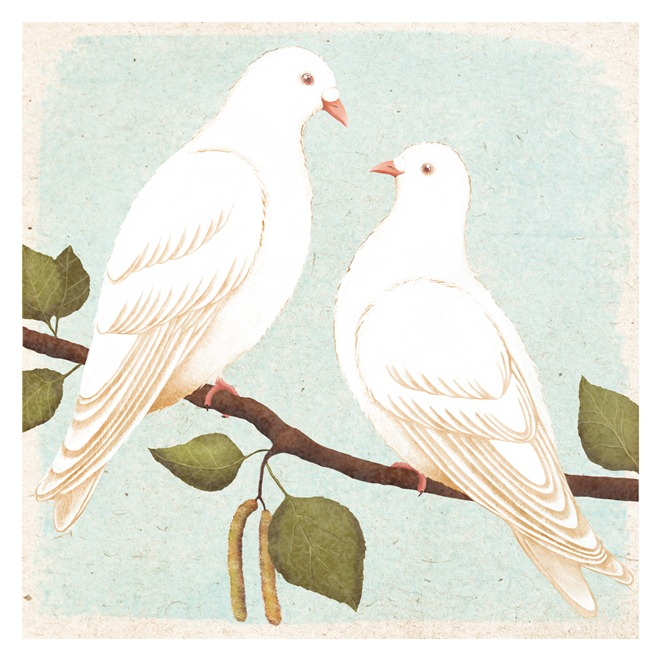 two white doves by Khersonets Maria