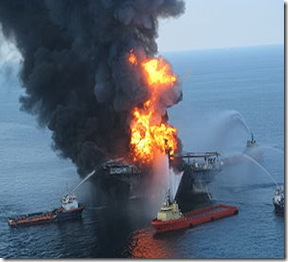 Deepwater Horizon on fire after BP oil spill in US