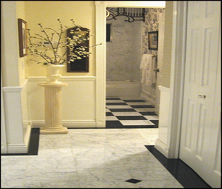 entry hall to guest bath
