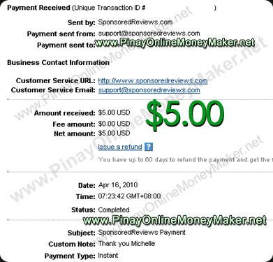 Sponsored Reviews Payment Proof $5.00 on April 16, 2010