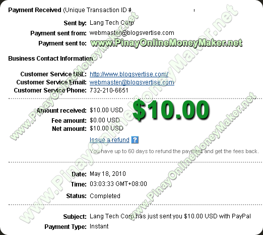 Blogsvertise Payment Proof 05.18.2010