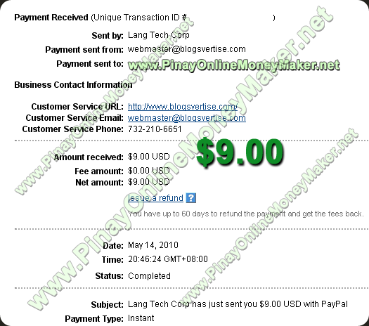 Blogsvertise Payment Proof 05.14.2010