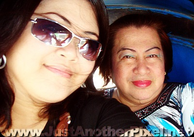 My nanay and I taking photos while in a tricycle - JustAnotherPixel.net