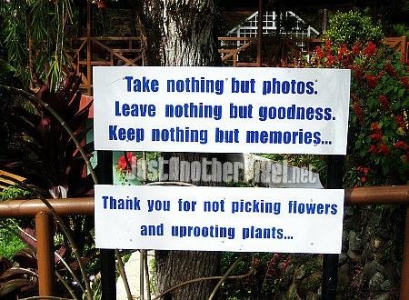 Sign at the garden in Good Shepherd in Baguio - JustAnotherPixel.net
