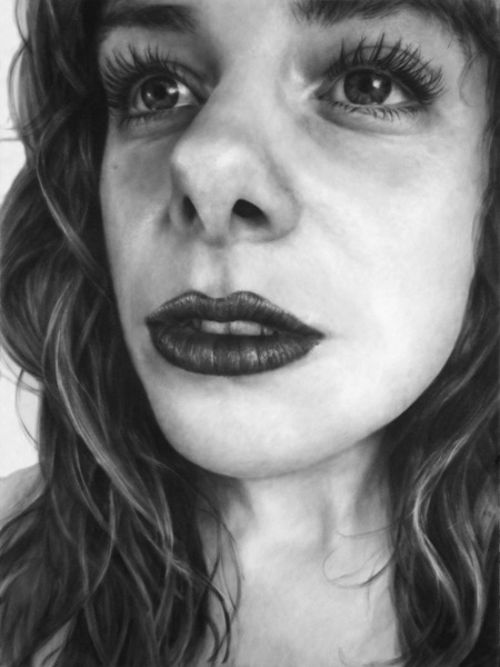 Melissa Cooke I Love Red Lipstick Even When It Is In Black and White Drawing Graphite Self Portrait