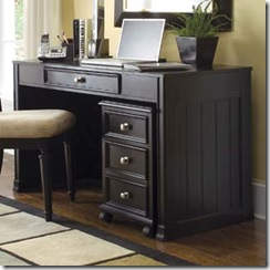 Camden Black Desk and File Cabinet