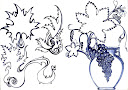 خمخانه هستی خم خانه هستی برگ انگور برگ تاک برگ مو کوزه می طراحی با خودکار از سید امین نبی پور