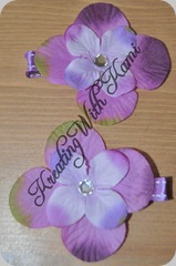 purple fabric with gem  flower clips 05_29_10