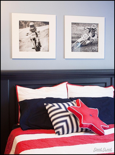White Frames above PB Inspired Bed