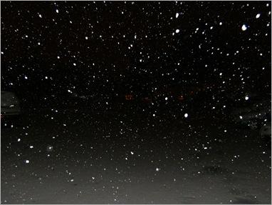 Fluffy snow falling