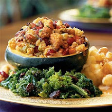 Roasted Squash Stuffed with Corn Bread Dressing
