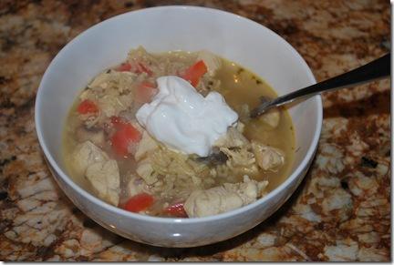 Mushroom-bell pepper-chicken soup