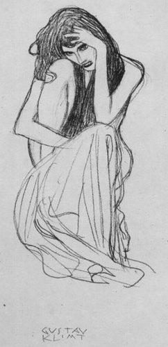 Kauernde von vorne - Gustav Klimt