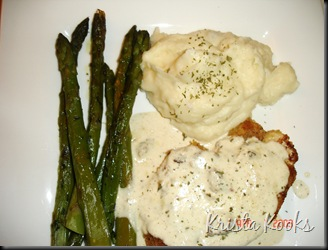 Krista Kooks Crispy Chicken Costeletta with Mashed Potatoes and Asparagus 4