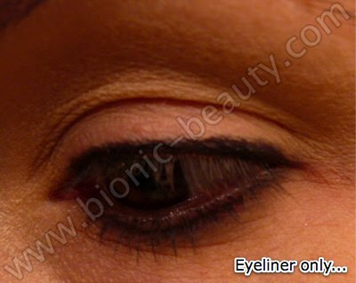 Line lashline with black eyeliner