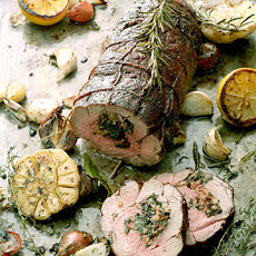 Roasted Lamb Shoulder Stuffed with Merguez and Swiss Chard