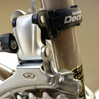 we change the front mech to be compatible with mtb shifters which jordan needed on his riser bar setup