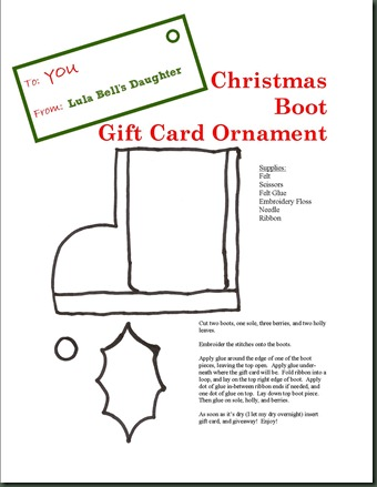 LBD Christmas Boot Gift Card Ornament