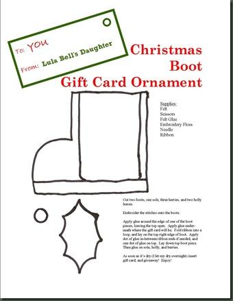 LBD Christmas Boot Gift Card Ornament