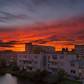 Sassem Sunset by Derek Mair - Buildings & Architecture Homes ( sunset, sassenheim )