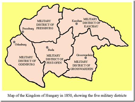 Hungarian Military Districts in 1850